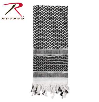 Rothco 100% Cotton Shemagh Tactical Desert Scarf Black/White