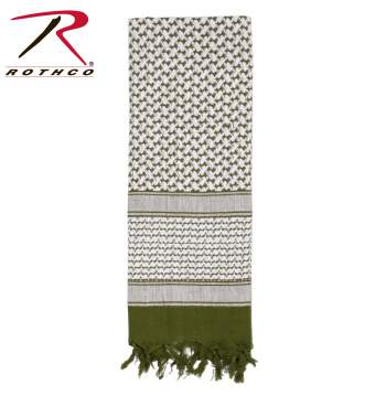 Rothco 100% Cotton Shemagh Tactical Desert Scarf Olive Drab/White