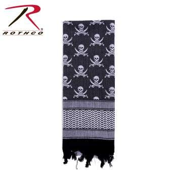 Rothco 100% Cotton Skull Print Shemagh Tactical Desert Scarf White/Black