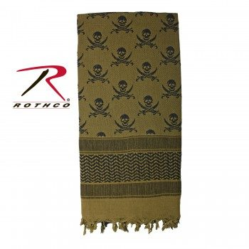 Rothco 100% Cotton Skull Print Shemagh Tactical Desert Scarf Olive Drab