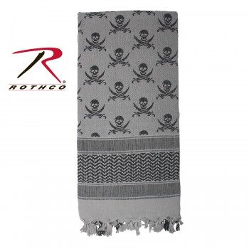 Rothco 100% Cotton Skull Print Shemagh Tactical Desert Scarf Grey