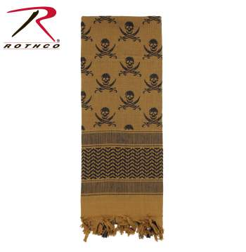 Rothco 100% Cotton Skull Print Shemagh Tactical Desert Scarf Coyote Brown