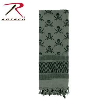 Rothco 100% Cotton Skull Print Shemagh Tactical Desert Scarf Foliage Green