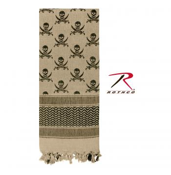 Rothco 100% Cotton Skull Print Shemagh Tactical Desert Scarf Tan