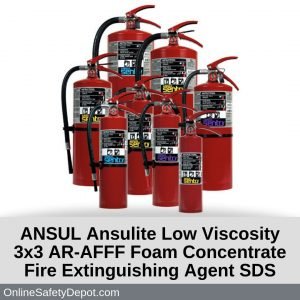 ANSUL Ansulite Low Viscosity 3x3 AR-AFFF Foam Concentrate Fire Extinguishing Agent