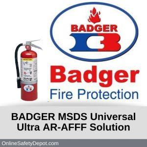 BADGER MSDS Universal Ultra AR-AFFF Solution