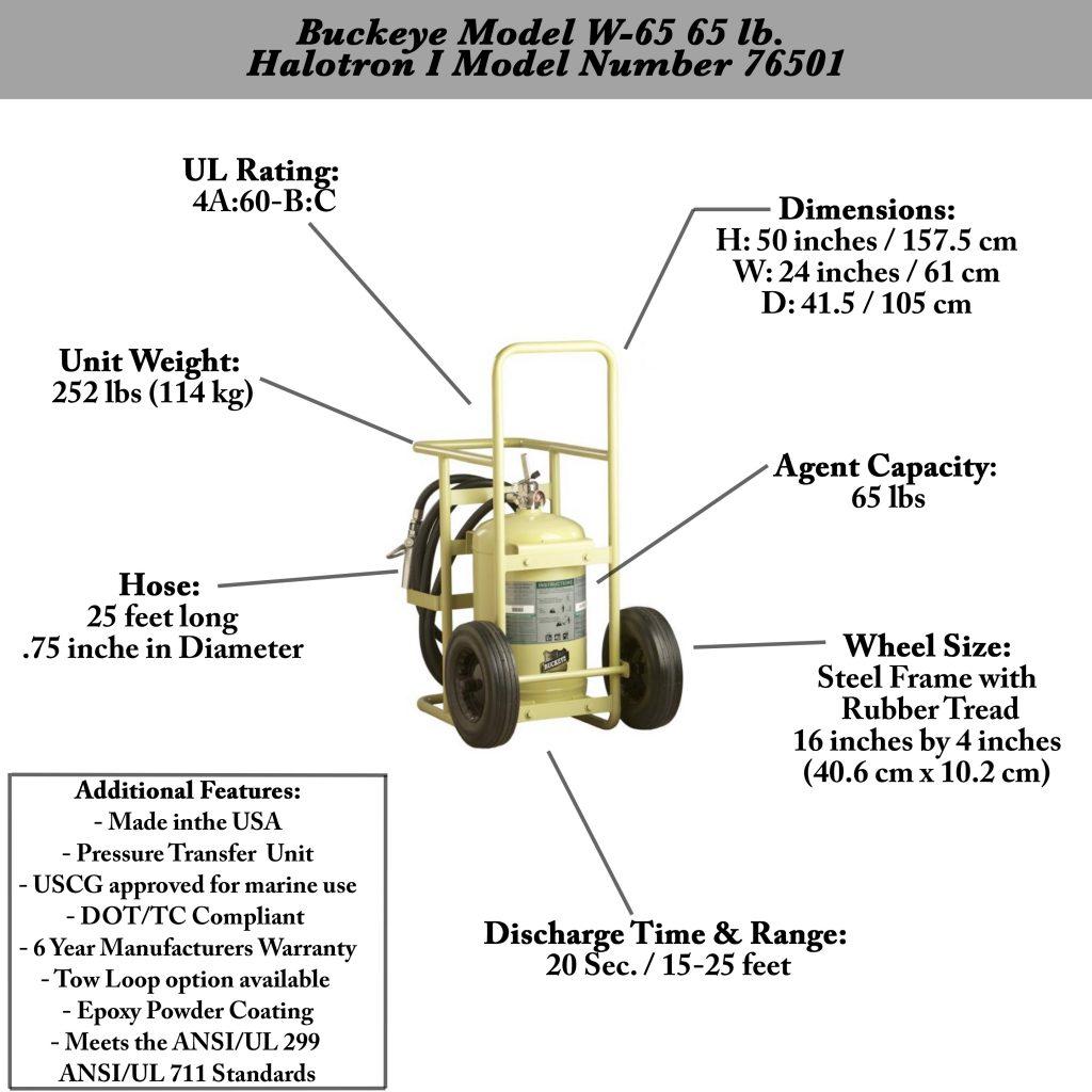 Buckeye Model W 65 Halotron I Wheeled Fire Extinguisher