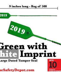 Large Green and White Dated Tamper Seals