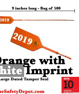 Large Orange with White Dated Tamper Seals