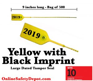 Large Yellow with Black Dated Tamper Seals