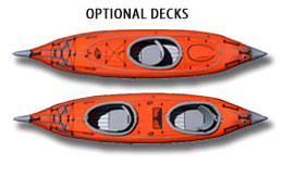 Optional Solo and Tandem Decks for AdvanceFrame Convertible Kayak
