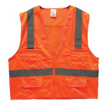 Bright Orange Surveyor's Safety Vest ANSI 107