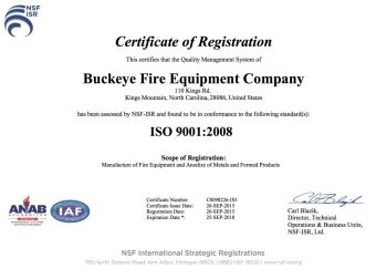 Buckeye Fire Equipment Company ISO 9001:2008 Quality Certificate