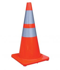 Double Band Silver Reflective Traffic Cone
