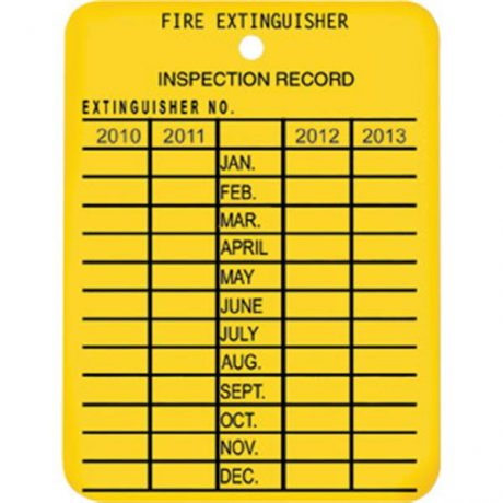 Fire Extinguisher Inspection Tag Record
