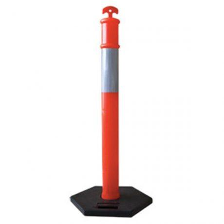 Fluorescent Orange Traffic Delineator Post Heavy Base