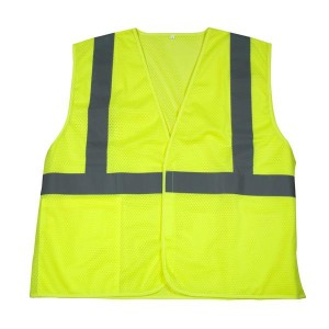 Lime Green Hi Visibility Solid Mesh Safety Vest ANSI 207 Class 2
