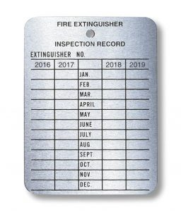 Metal Fire Extinguisher Inspection Tag Record 2016-2019