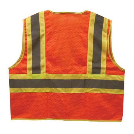 Orange Lime Green Two-Toned Safety Vest with Reflective Strips
