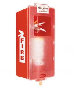 Plastic Indoor Fire Extinguisher Cabinet Mark I Jr Red-Clear