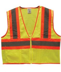 Two-toned Lime Green/Orange Safety Vests with Reflective Strips